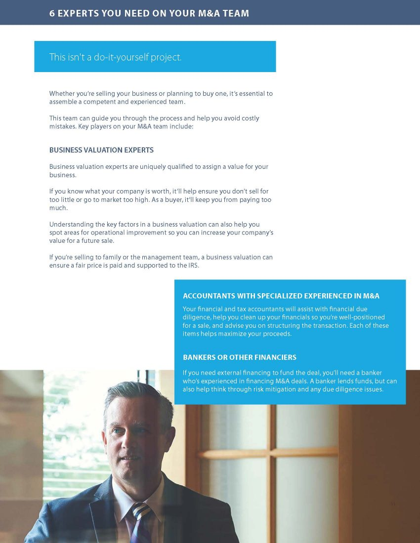 Screenshot of M&A guide page - experts you need on your M&A team