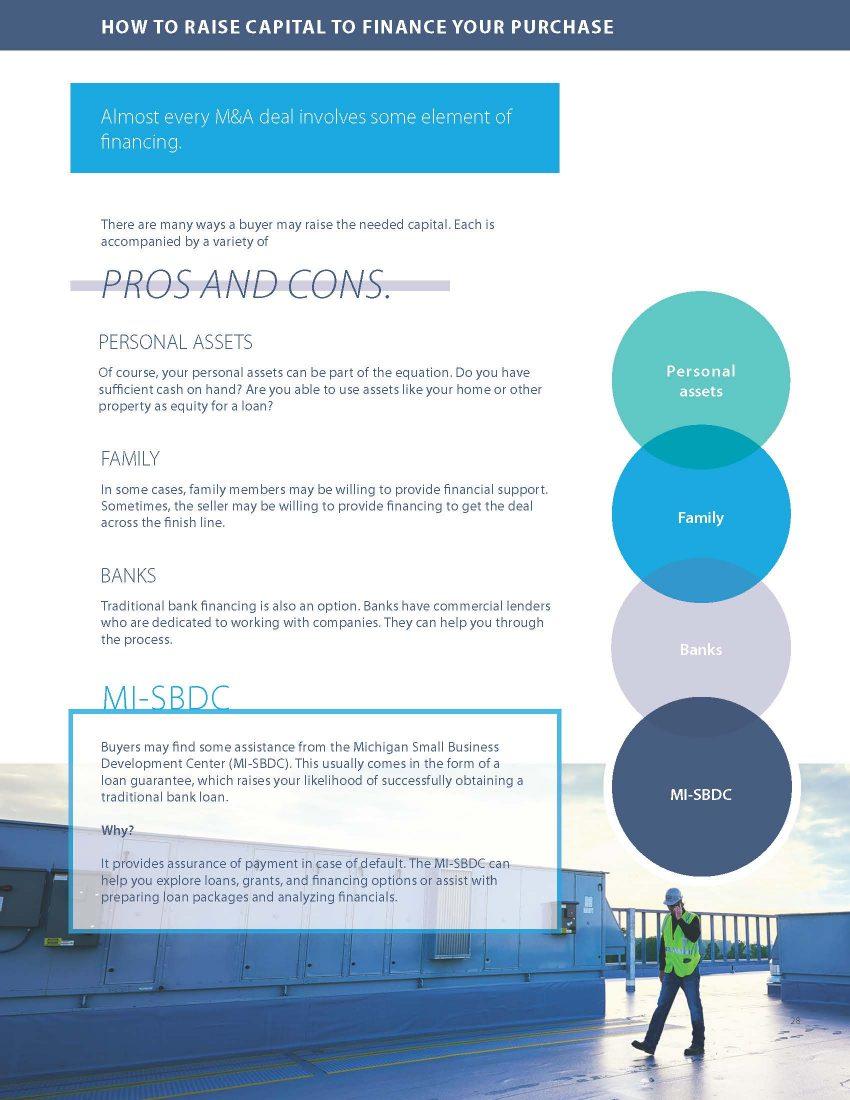 Screenshot of M&A guide page - raising capital