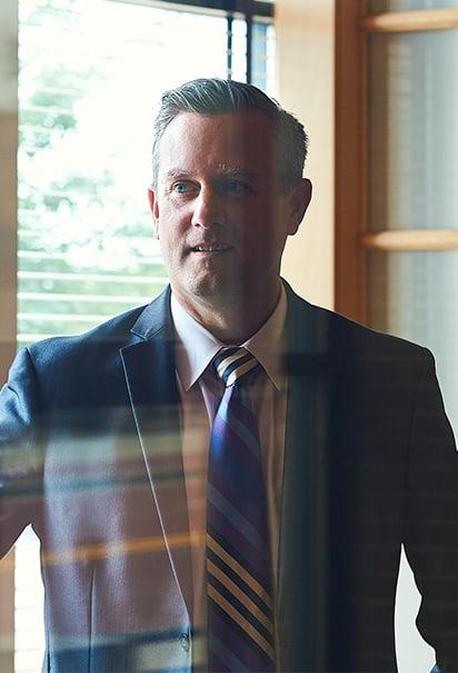 Eric Larson standing in Beene Garter lobby