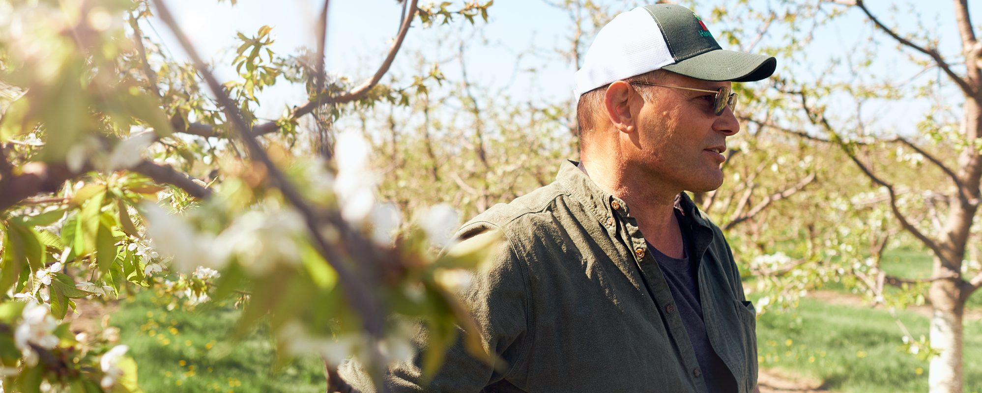 Image of farmer in apple orchard on Beene Garter's succession planning page