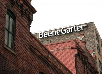Image of Beene Garter building and exterior sign in downtown Grand Rapids - IPA 300 Firm