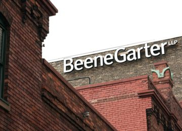 Beene Garter building and exterior sign in downtown Grand Rapids - IPA 300 Firm
