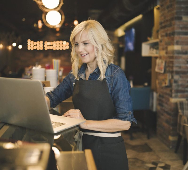 Coffee shop owner joining demo of Sage Intacct software
