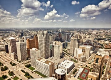 Aerial view of downtown Detroit, MI - one city with income tax requirement