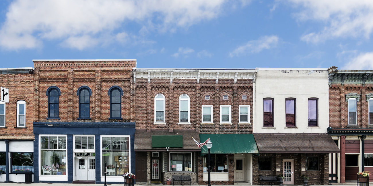 Main street of small town - businesses can apply for main street lending program if impacted by COVID-19
